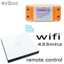 smart home Vhome RF433MHZ wireless Glass panel remote control WIFI receiver, for Touch switches, garage doors, electric curtains