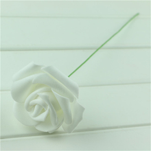 50pcs/lot  white rose artificial flower foam rose with stem handmake diy for wedding festival&party decoration 6cm