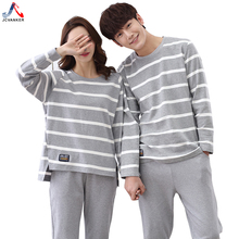 JCVANKER Couples Pajamas Set For Women Men Spring Autumn Full Sleeve Length Striped Grey Sleepwear Pyjamas Suit Casual Homewear