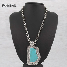 FANYINAN Tibetan silver retro name styleTurquoise Necklace & Pendant fashion womenor men  fashion brand jewelry wholesale