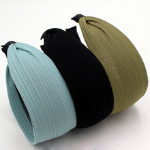 Korean All-match Solid Color Headband Jacquard Striped Fabric Covered Teeth Hairband Wholesale Hair Accessories for Women