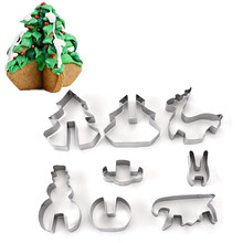 1 Set DIY 3D Stainless Steel CHRISTMAS Scenario Cookie Cutter Set,Baking Mould, Include Snowman, Christmas Tree, Deer and Sled(China)