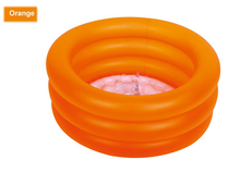 Free shipping!Summer baby 3rings pvc swimming pool summer baby water play inflatable pool with inflatable bottom_64x22cm(Orange)(China)