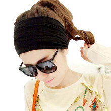 New Fashion Cool Hair Accessory Full Vintage Wide Ribbon Solid Black&Gray Elastic Party Headband Bandanas Perfect Gift