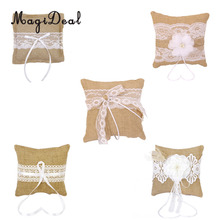 MagiDeal 20cmx20cm Vintage Burlap Bow Rustic Wedding Party Pocket Ring Pillow Lace Trim Wedding Decoration Supplies(China)