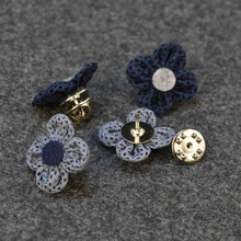 Wholesale Label Pin Brooch Men Women Fabric Flower Pins Brooches Mesh Hollow Short Brooch Fashion Men Accesories Mixed 6 PCS/LOT(China)