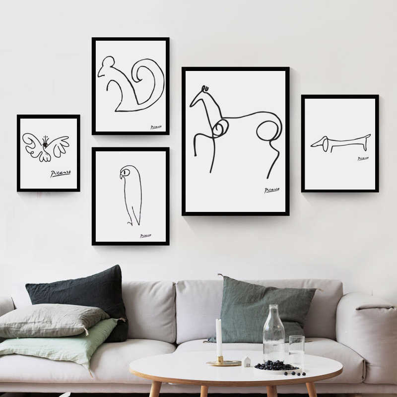 Pablo Picasso Abstract Animal Dog Squirrel Horse Minimalist Wall Art Pictures Canvas Painting Posters Nordic Decoration for Home