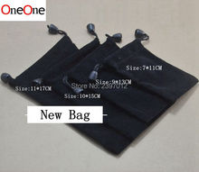 OneOne black fabric Retail Packaging cloth Bag for usb cable earphone mp 3 4 and others wholesale 500pcs(China)