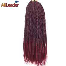 AliLeader 30 Roots/Pack 18 Inch Burgundy Crocheted Braids Ombre Hair Extensions For Braiding With Synthetic Kanekalon Hair