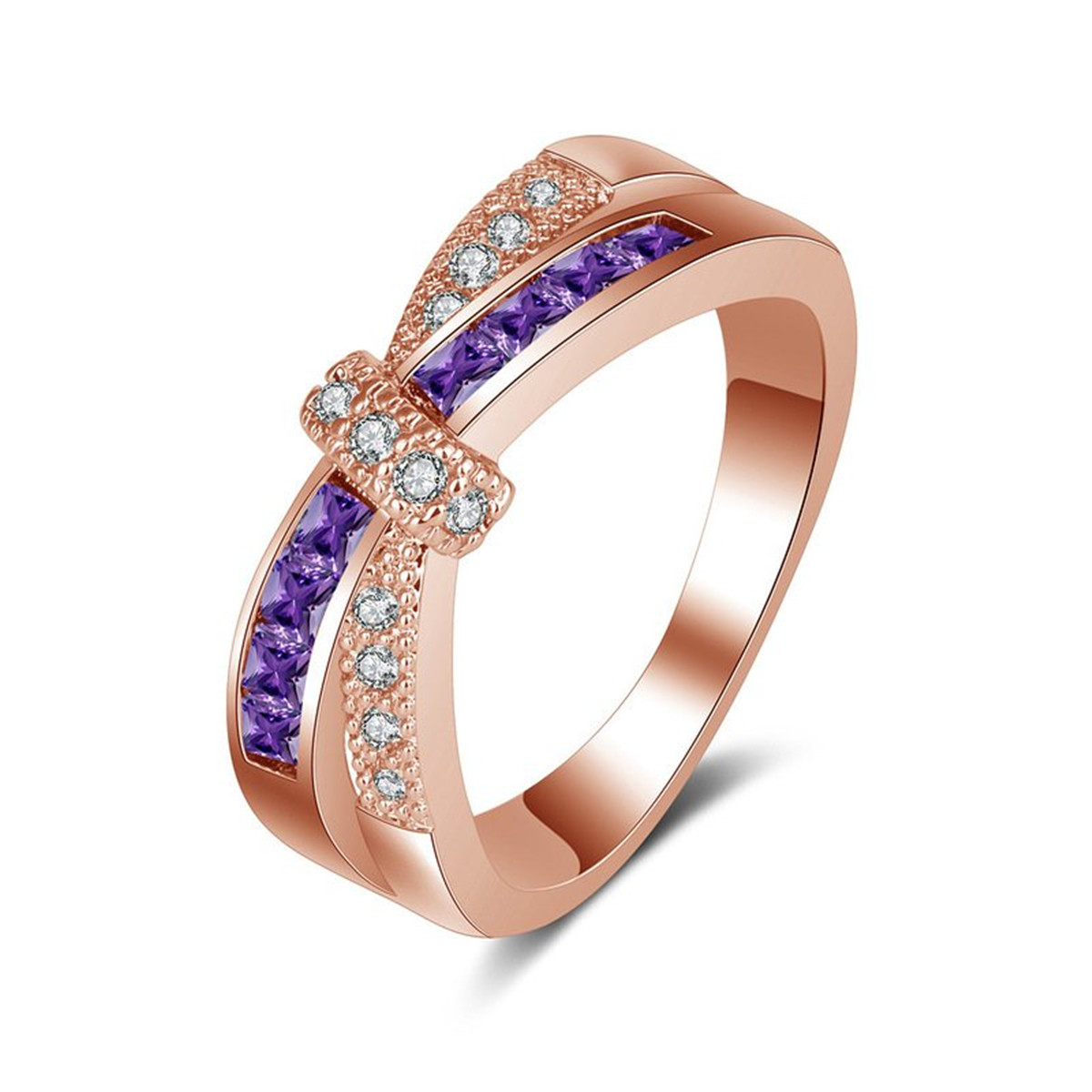 Elegant Womens Wedding Rings Shellhard Sexy Rose Gold Purple Crystal CZ Cross Ring Fashion Jewelry Accessories Gift Size 6-9