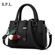 s.p.l. bag 2017 new women handbag leaf hairball pendant messenger bag ladies working shoulder bags solid