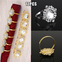Luxurious 12pcs Crystal Diamond Designed Napkin Ring Holder Banquet Decor Party Supplies free shipping