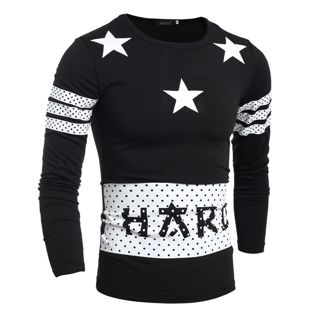 T Shirt Men 2017 S Fashion Star Printing Long Sleeve Leisure