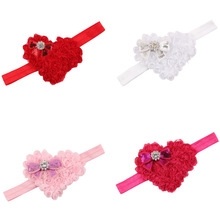 4PCS/LOT Soft Fashion Lovely Colorful Newborn Girls Younger Girl's Newborn Crytral Heart Headband Headwear Hair Band Accessories