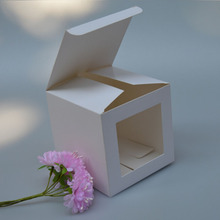 10*10*10cm 15 sizes Square white paper paper soap box with pvc window,plastic window paper box, paper packing window gift box(China)