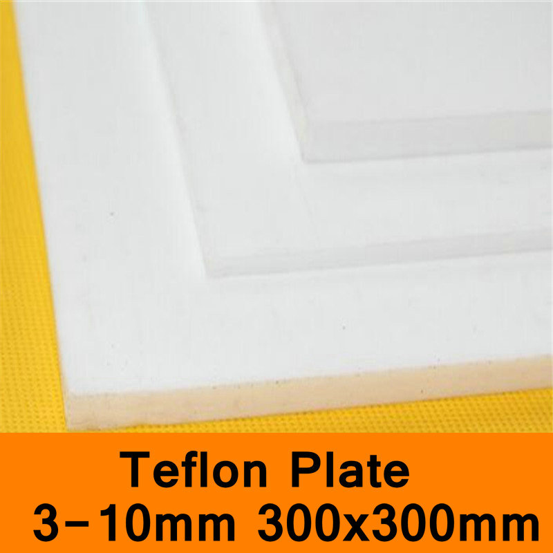 PTFE Sheet Teflon Plate Teflon Board Block Polytef Polytetrafluoroethylene Plate 3 to 10mm Good Working Temperature 300X300mm<br>