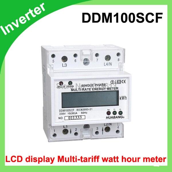 single phase din rail type watt hour meter with LCD multi-tariff 15(60) 50Hz<br>