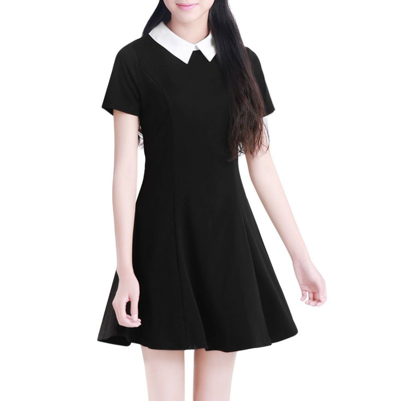 Black Dress White Collar Summer Cute Peter Pan Collar School Preppy Style Dresses Zipper Short Sleeve Brand Vestidos Femininos(China (Mainland))