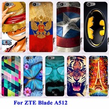 AKABEILA Soft TPU Hard Plastic Cell Phone Cases For ZTE Blade A512 5.2 inch Covers Housing Cat Tiger Batman Bags Cover(China)