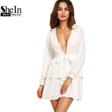SheIn 2016 New Fashion Women Casual Dresses Plain Ivory Deep V Neck Self Tie Long Sleeve Tiered A Line Mini Dress