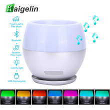 Novelty Luminaria Speaker-bluetooth LED Night Light 7 Color Changing Touch Sensor Music Player LED Table Lamp As Flower Pot(China)