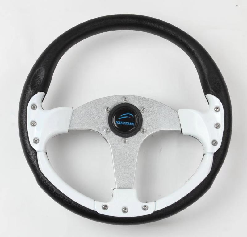 """Standard 12.6/"""" 3 Spoke 3//4 Inch Marine Boat Steering Wheel with PU Foam Grip"""