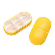 Portable 6 Parts Yellow  Pill Case Pill Organizer Medicine Box Drugs Pill Container Cute Pea Shaped Pill Vitamin Splitters Cases
