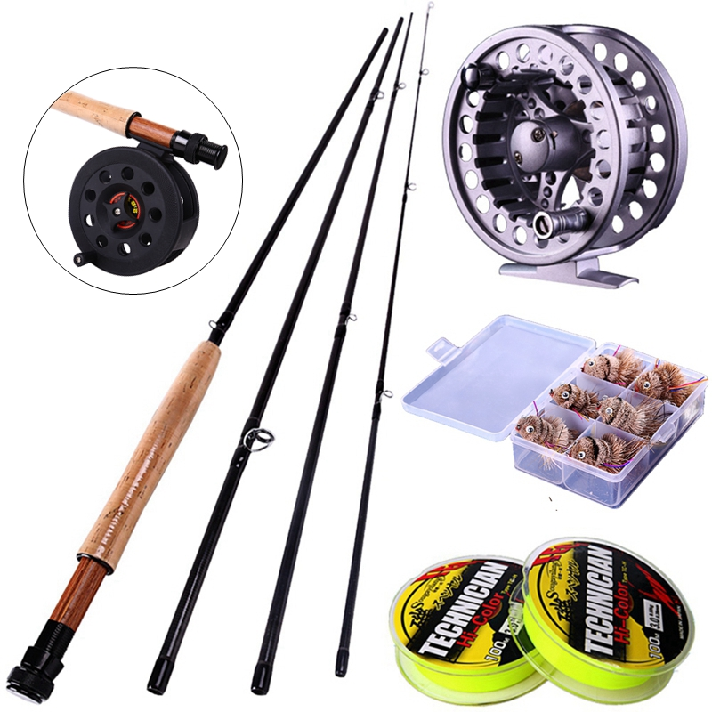Sougayilang 2.7M/8.86FT Fly Fishing Rod 4Sections #5/6 and Fly Fishing Reel Set Fly Fishing Tackle Fishing Line and Hooks Free<br><br>Aliexpress