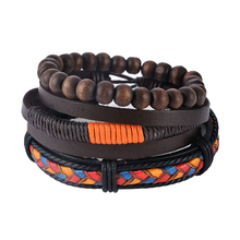 LASPERAL Multilayer Bracelet Men Casual Fashion Braided Leather bracelets for women Wood Bead Bracelet Punk Rock Men Jewelry(China)