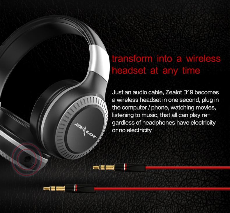 Zealot B19 Wireless Headphones LCD Display Screen HiFi Bass Stereo Earphone Bluetooth Headset with Mic + FM Radio + TF Card Slot 10
