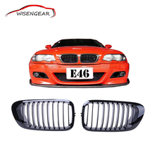 Car For BMW 1set Gloss Black Kidney Grills Front Grilles For BMW E46 3 Series 2D 1999 - 2006 Coupe + Box C/5