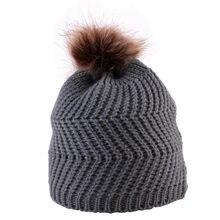 Nova fibra Acrílica crianças Unisex Knit Pompom Bola Cap Gorro  Bege Rosa Preto Crochet Inverno Quente Chapéus fotografia styling. 5afedbfb029