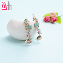 Women's fashion brand new arrival personalized gorgeous colourful sea horses earrings