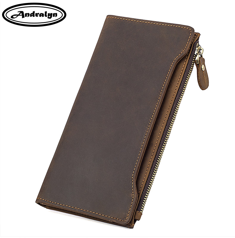 Andralyn Western Style Retro Crazy Horse Leather RFID Shield Men Wallets Zipper Coin Purse Long Style Fashion Male Purse<br>