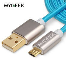 MyGeek Nylon Micro USB Cable for Android phone 3m 2m Fast Charge wire Mini USB Mobile Phone Cables for Samsung HTC Huawei Xiaomi(China)