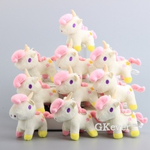"Cartoon 10 Pcs/Lot Little Twin Stars Unicorn Cute Plush Keychain Unicorn Soft Stuffed Dolls Pendant 5"" 12 CM Bag Decoration"