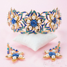 2017 Hot Regal Gold Golden Quinceanera Bridal Tiaras Solar Flower Queen Blue Rhinestone Bridal royal tiaras and crowns