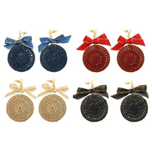 Blue Beige Black Red Strings Plaited Round Pendant Thread Ribbon Bowknot Women Dangle Earrings Drop Earrings(China)