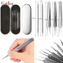 Pretty OutTop 5PCS Practical Pro Blackhead Acne Comedone Clip Needle Tweezers Pimple Extractor Remover Set Acne Extractor Set