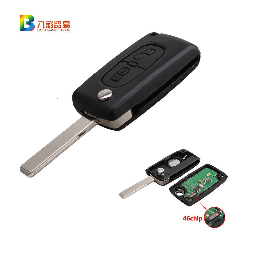 2 Buttons 433MHz PCF7961 Transponder Chips Remote Fob Key For Peugeot 207 307 308 407<br>