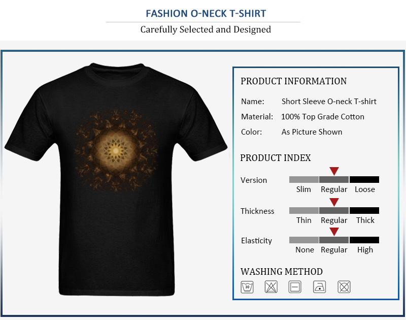 100% Cotton Tops Tees Copper Mandala for Boys Printed On T-Shirt Casual Prevailing Round Neck Short Sleeve Sweatshirts Copper Mandala