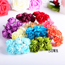 Free Shipping Size 2.5cm Head Multicolor Mulberry Paper Flower Bouquet/Wire Stem/ Scrapbooking Artificial Rose Flowers(72pcs)