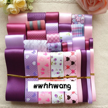 Free shipping 31 yardsElegant pink purple style ribbon,Mix Style Printing Grosgrain Ribbon Bows Wedding Party Deco Craft