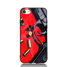 Red Series Gun and Bullets Fun Art For iPhone 6 6s 7 Plus Case TPU Phone Cases Cover Mobile Protection Decor Gift