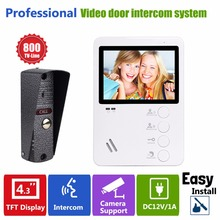 "4.3"" TFT 800TVL Door Intercom Video Dual-way Intercom Doorbell System Night Vision Outdoor Camera And Indoor Monitor Unit F1381B"