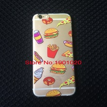 Hot Selling For iphone 5 5s 6 6s 6plus 6splus Hamburgers Pizza fries Case High Quality TPU+PC Transparent Case Back Cover Case