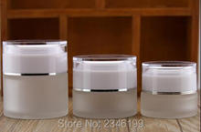 30G 30ML Frost Glass Jar with White Acrylic Cap, Cosmetic Essence Lotion Packing Bottle, Skin Care Cream Container, 18pcs/lot