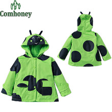 Girls Raincoat Kids Ladybug Jacket Windproof Kids Polka Dot Boys Outerwear Waterproof Butterfly Hoodie Bebe Clothes Baby Coat