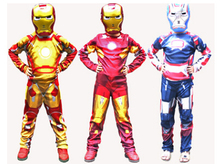 Iron Man Mark 42 / Patriot Muscle Children Kids Halloween Costume Fantasia Avengers Superhero Iron Man Cosplay Costume with Mask