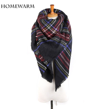 [Homewarm]Winter Women Scarves Large Tartan Scarf Pashmina Warp Shawl Acrylic Black Checked bandana echarpe hijab foulard(China)